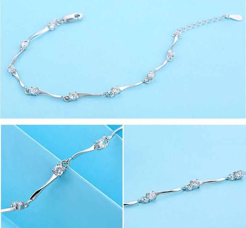 Everoyal Top Quality Zircon Purple Bracelets For Women Accessories Trendy Silver 925 Sterling Silver Bracelet Female Jewelry Hot in Charm Bracelets from Jewelry Accessories