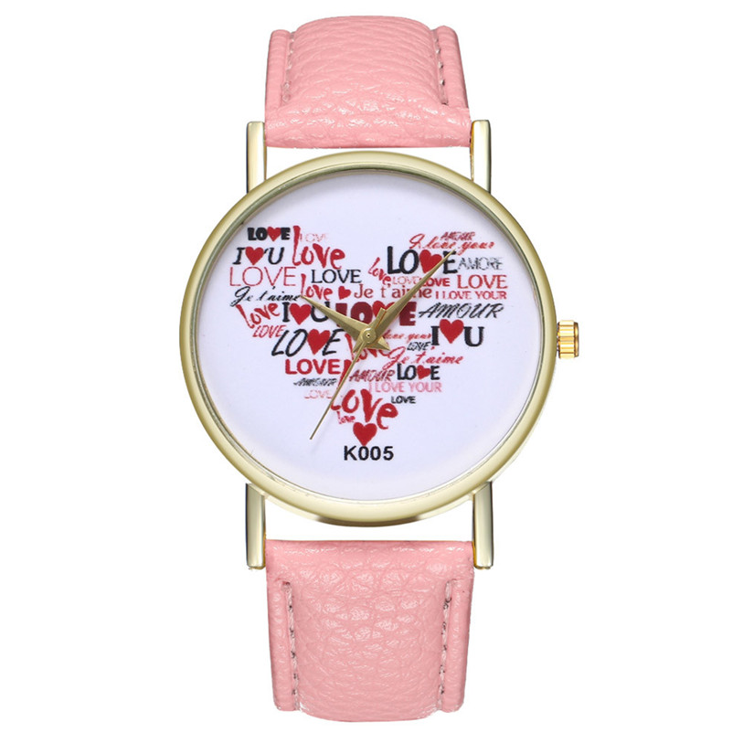 Big Dial Ladies Watch Quartz Women's Watches Little Love Pattern Clock montre femme reloj mujer saat Girl Valentine Day Gift 5N valentine s day sparkly heart pattern floor area rug