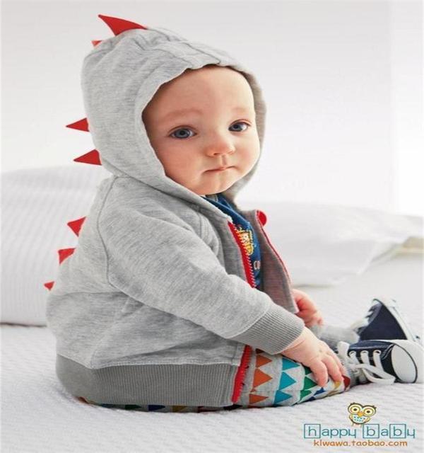70-80-90-100 Cm Cotton Baby Hoodie Quality Cartoon Hooded Zipper Baby Sweatshirt Newborn Truien Baby Boy Clothes Dinosaur Art