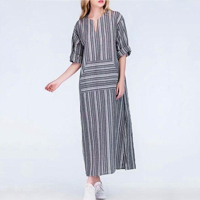 f0fde72c46 Moda mujer algodón Lino vestido largo flojo rayado Maxi vestido con manga  larga Bolsillo grande v
