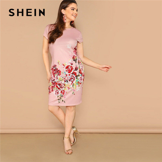 141be5504e SHEIN Pink Plus Size Ladies Casual Floral Print Straight Hem Pencil Dress  2019 Summer Women Short Cap Sleeve Midi Dress