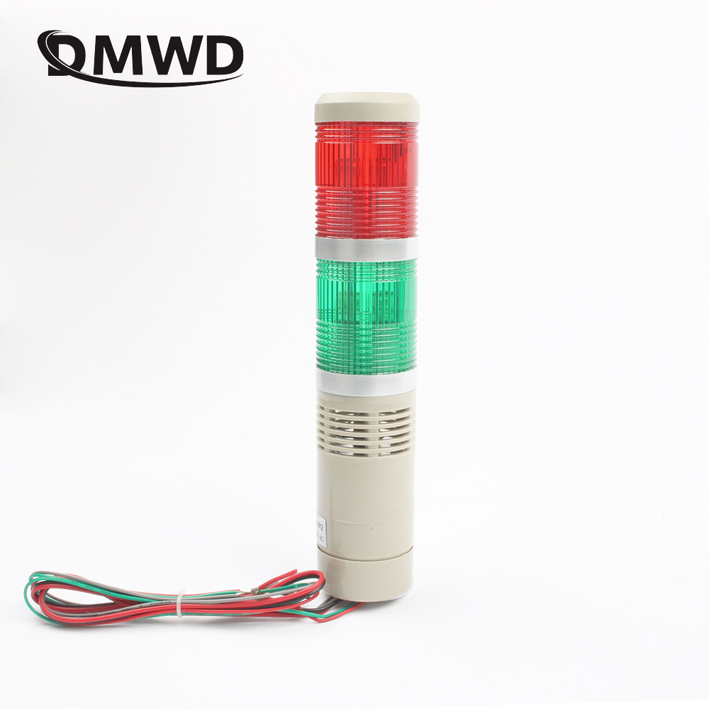 цены DMWD DC12V/24V AC110V 220V Red Green Industrial Tower Signal warning Light LTA-205 Red and green indicator light Always light