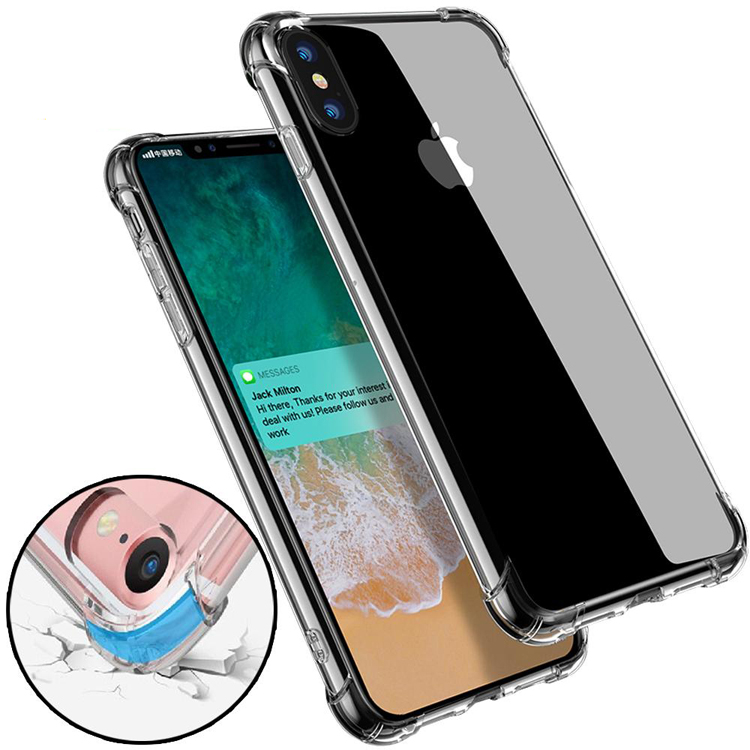 200Pcs/Lot Anti-knock Soft TPU Transparent Clear Phone Case Protect Cover Shockproof Soft Cases For iPhone 6 8 plus X samsung s8