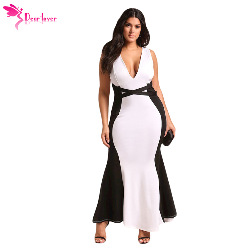 Dear Lover Long Dress Summer 4XL Sexy Party Plus Size Color Block Cross Strap V-neck Maxi Gown Big Vestidos Oversized LC610036