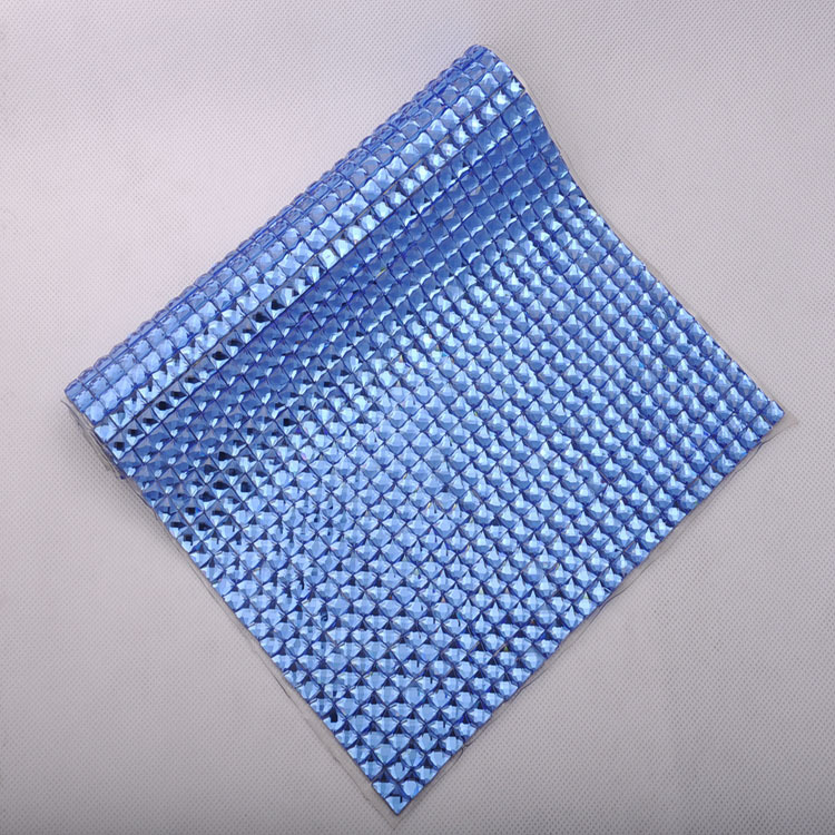 24x40cm hotfix blue sheet mesh rhinestone banding 10mm <font><b>square</b></font> blue color stone for crystal motif