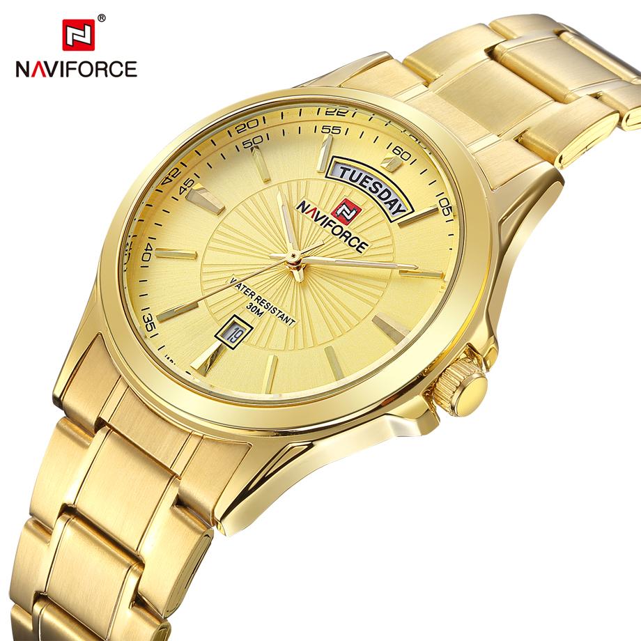 Prix pour Luxe Top Marque NAVIFORCE Hommes de Montre-Bracelet À Quartz Analogique Montre En Acier Étanche Mode Casual Horloge Robe Relogio Masculino