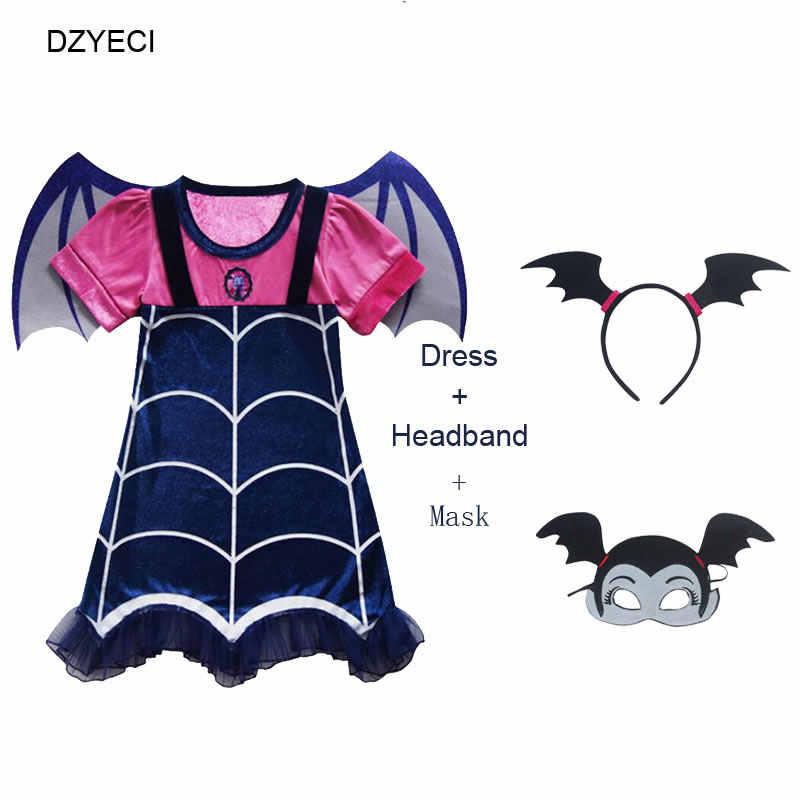 Disfraz Vampirina Costume For Girl Dress Halloween Child Mask Headband Boutique Up Frock Kid Elza Vetement Enfant Fille disguise