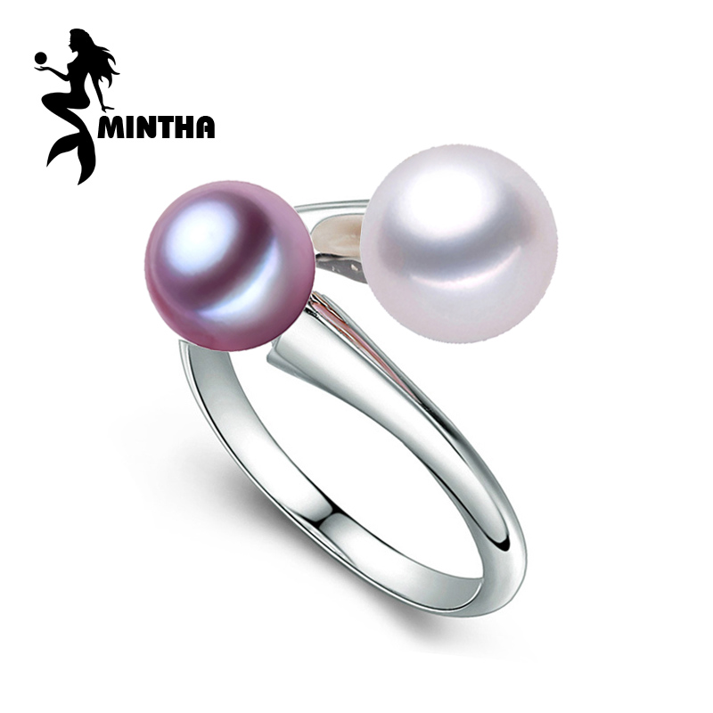 MINTHA Pearl Jewelry,natural double Pearl rings,Natural Freshwater Pearl 925 Silver ring,trendy Bohemia ring for women love trendy faux pearl flower rhinestone shape cuff ring for women