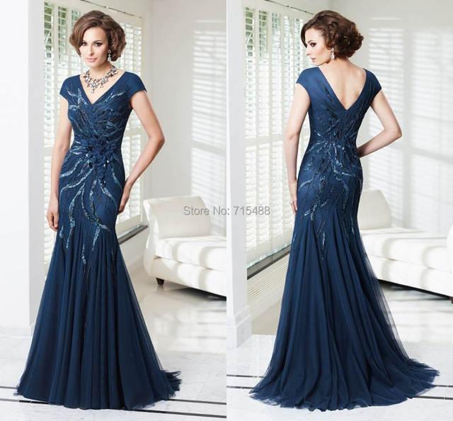 For Wedding Long Evening Gowns Royal Blue Beaded Short Sleeve Ebay ...