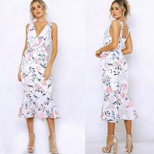 Summer Dresses 2019 New Women Summer Casual Floral Sleeveless V-Neck High Waist Slim Midi Dress Size S-XL цена и фото