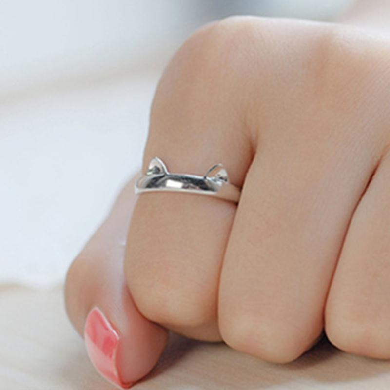 Silver Color Cat Ear Ring 4