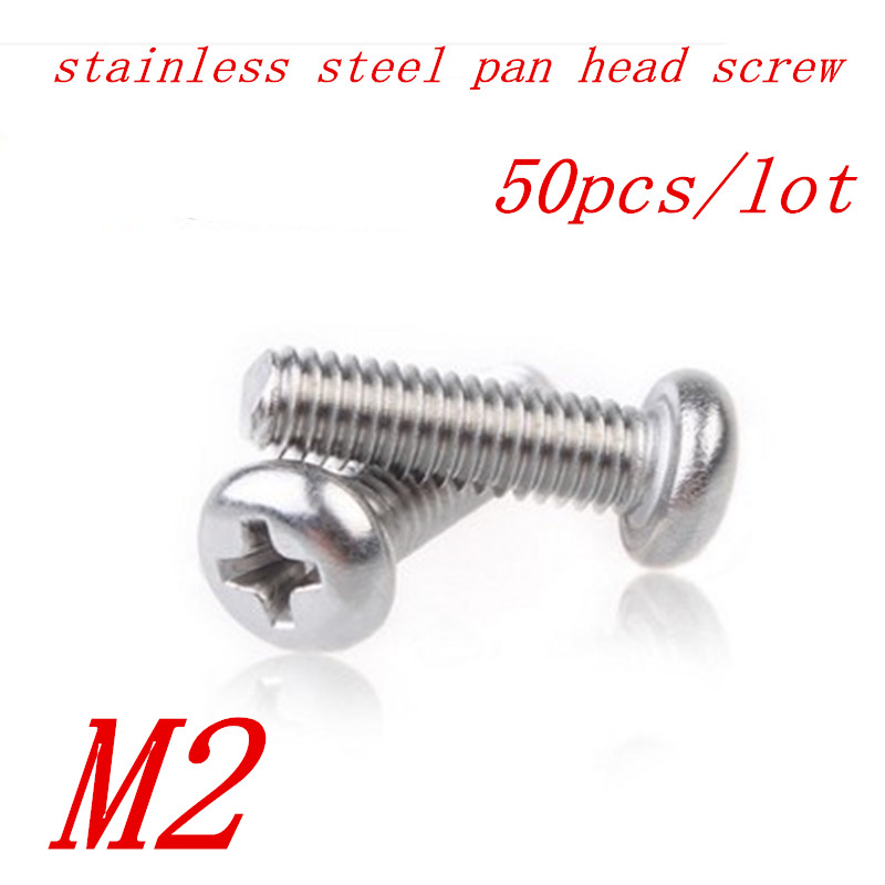 50pcs M2*4/5/6/8/10/12/16/20 2mm DIN7985 A2 Stainless Steel Round pan head machine screw