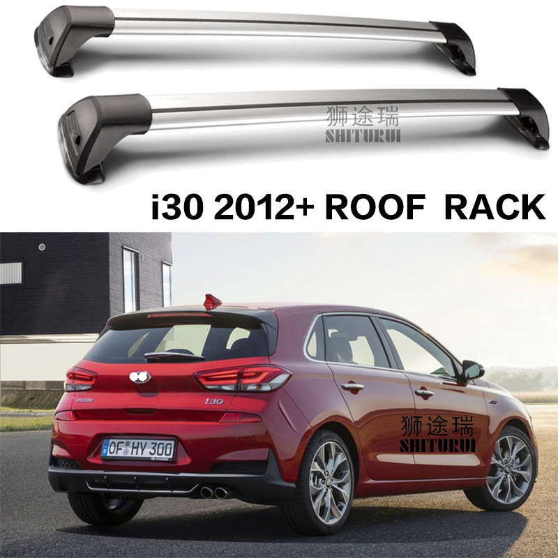 все цены на SHITURUI For Hyundai i30 Fastback Hatchback 2012+ Vern ultra quiet truck roof bar car special aluminum alloy belt lock roof rail онлайн