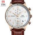 TSS Mens Relojes de Primeras Marcas de Lujo del Deporte Militar Luminosa Cronógrafo de Pulsera de Cuero Reloj de Cuarzo relogio masculino