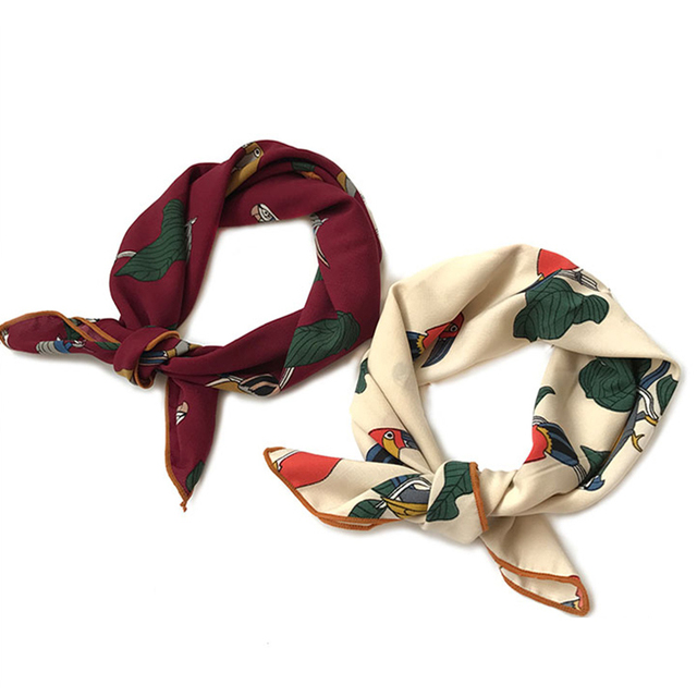6663ae53922 US $3.2 |Silk scarf women 50*50 The new 2017 small squares Joker decorative  multi functional hair ribbon Women scarves high quality-in Women's Scarves  ...