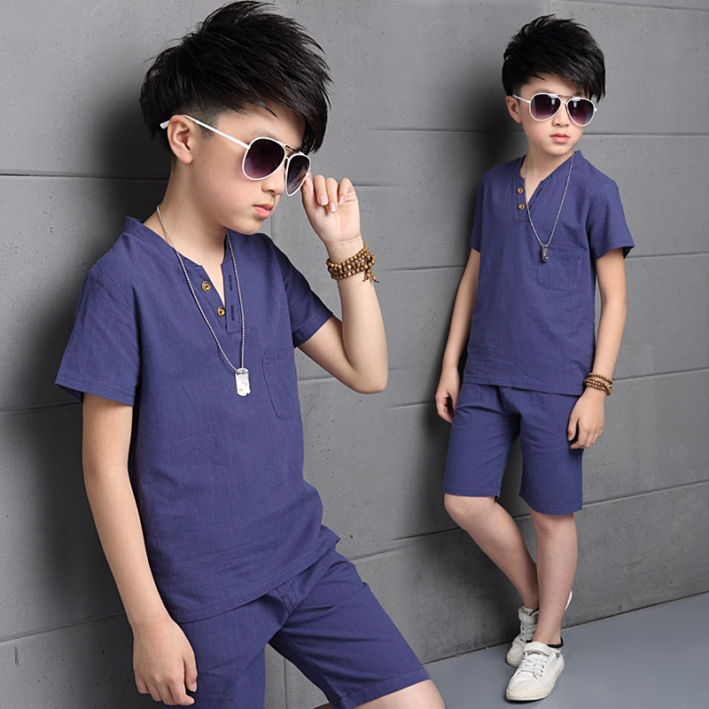 Teenage Boys Outfits Cotton Linen Clothing Sets For Boys T Shirts   Shorts  Summer Kids Clothes 4 6 8 10 12 13 14 Years Costumes-in Clothing Sets from  Mother ... c83f4622e463