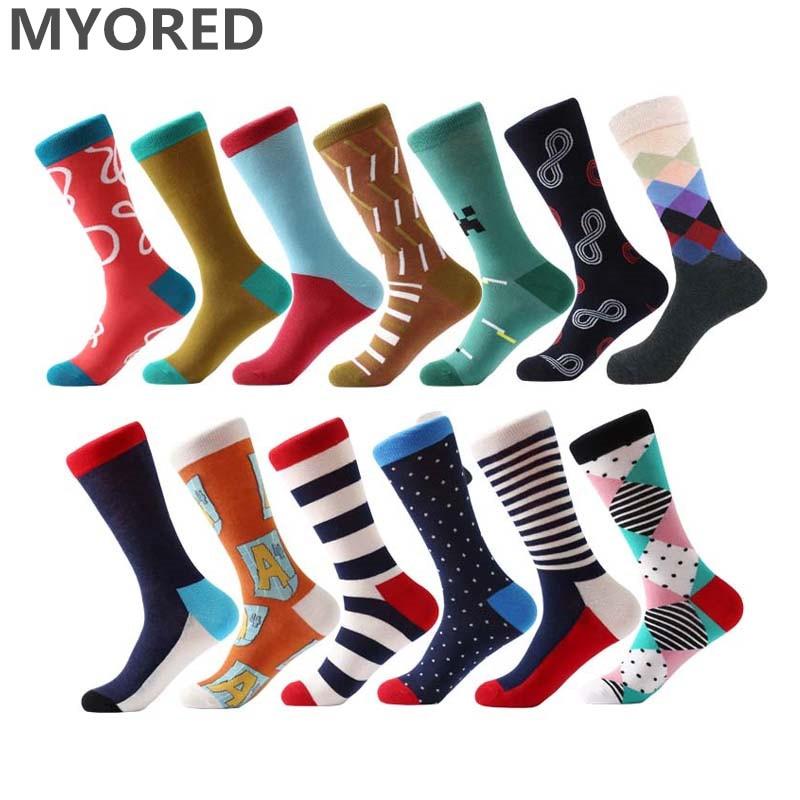 MYORED klasikinės spalvingos vyriškos šukuotos medvilninės verslo kojinės, ilgos vamzdinės vestuvių dovanos kojinės vyrams, moterims pora iki kelių