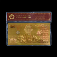 WR Birthday Party Ideas Gifts Thailand Commemorative Gold Banknote Hot Sale Home Decorative 100 Baht Bill Note Original Size