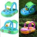 1 PCS Novo Cinto Inflável Pool Water Fun Sombrinha Guarda-chuva de Proteção Solar Popular Azul-Verde Do Bebê Nadar Anel do Flutuador assento Barco