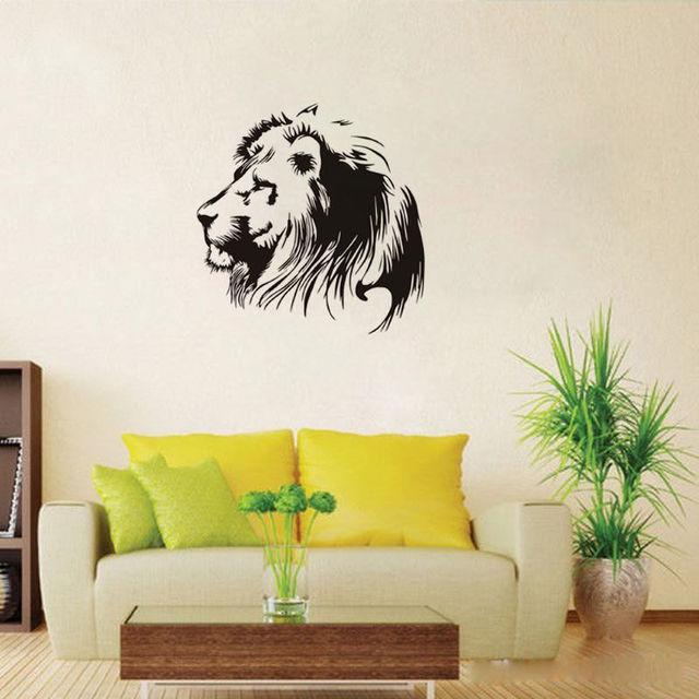 Lion Head Vinyl Wall Stickers Art Home Decor Living Room Animal Wall ...
