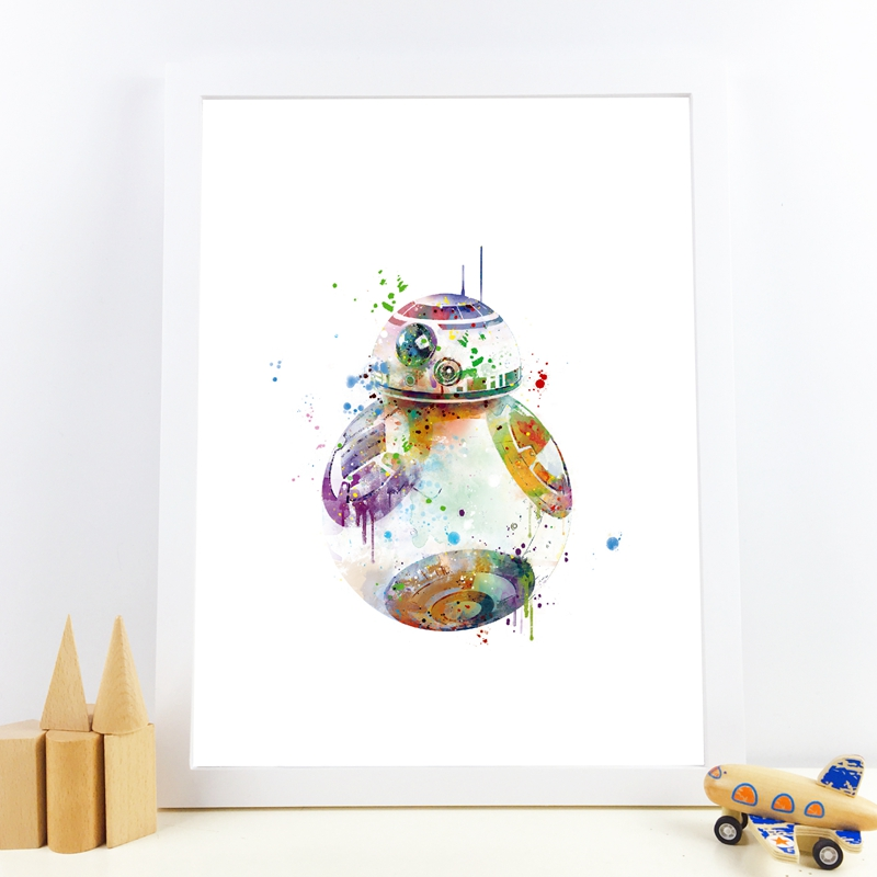 BB-8 Art Print Watercolor BB-8 Droid Poster Star Wars Canvas Painting Classic Movie Kids Boys Room Wall Art Picture Decor image