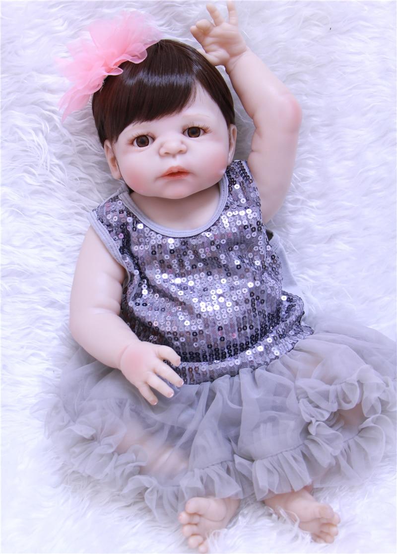 Stuffed Vinyl Body Reborn Baby Doll Silicone Girls Gift Toys Newborn Doll Play House Diy Bebe Reborn 55 Cm Doll Sexy Gray Skirt