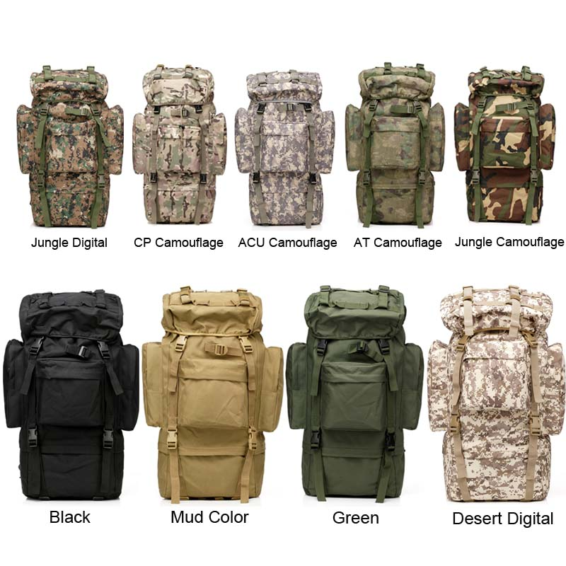 ФОТО Large Capacity 65L Mens Outdoors Camping Tactical Travel Backpack Women Hiking Bag for Mountaineers Rain Cover Metal Frame