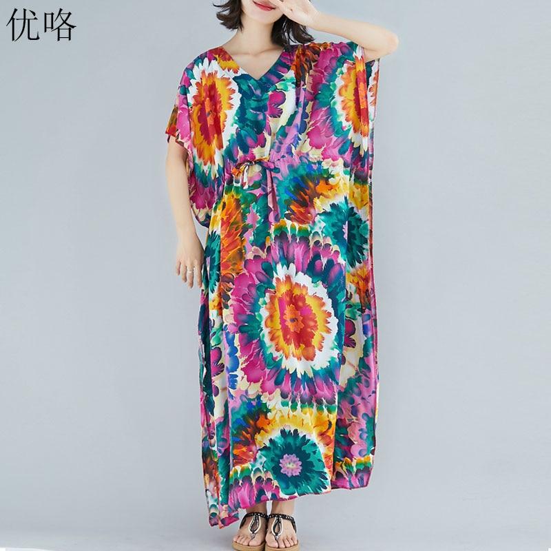 61798a6ed Talla grande 4XL 5XL 6XL Bohemia Maxi Vestidos para mujeres 2019 verano  vintage algodón Lino playa ...