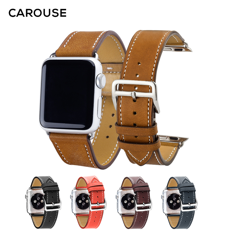 Carouse Genuine Leather Watchban for Apple Watch Band Series 4/3/2/1 38mm 42mm Qualit Leather for iWatch Sports Strap 40mm 44mmCarouse Genuine Leather Watchban for Apple Watch Band Series 4/3/2/1 38mm 42mm Qualit Leather for iWatch Sports Strap 40mm 44mm