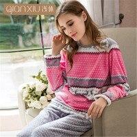 Qianxiu Brand Pajamas Winter Women Homewear Flannel Thicken Soft sleep & lounge Pajama Set Lively and lovely