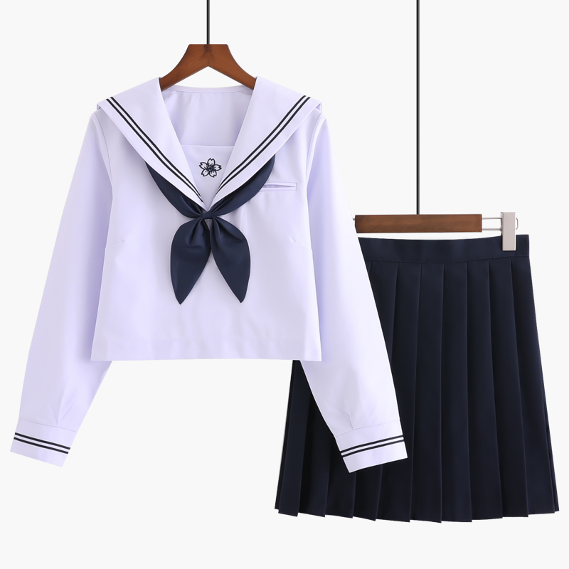 UPHYD Japanese Anime School Uniform Navy Blue JK Sailor Uniforms Long Sleeve Girls Spring Autumn Chorus Performance Sailor Suits