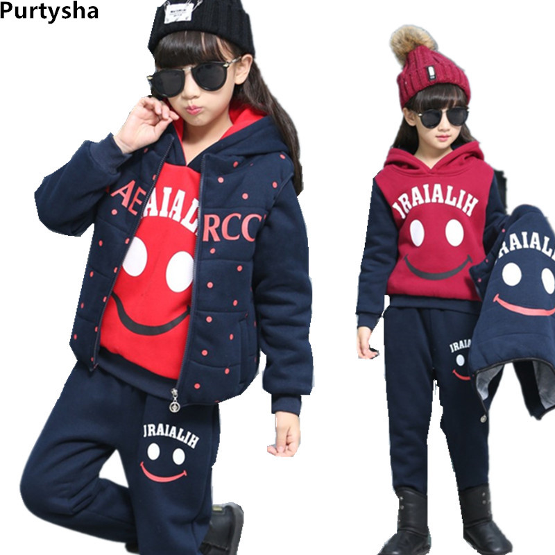 Winter Set Children Kids Girls Boys Cartoon Thicken Hoodie Sports Suit 3Pcs Tracksuit Teenage School Girl Outfit 6 10 Years 2015 new arrive super league christmas outfit pajamas for boys kids children suit st 004