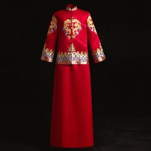 Chiński styl ślubne męskie tosty kostiumy suknia czerwony haft pana młodego wieczór długa suknia kimono oblubieniec kurtka tang garnitur ubrania