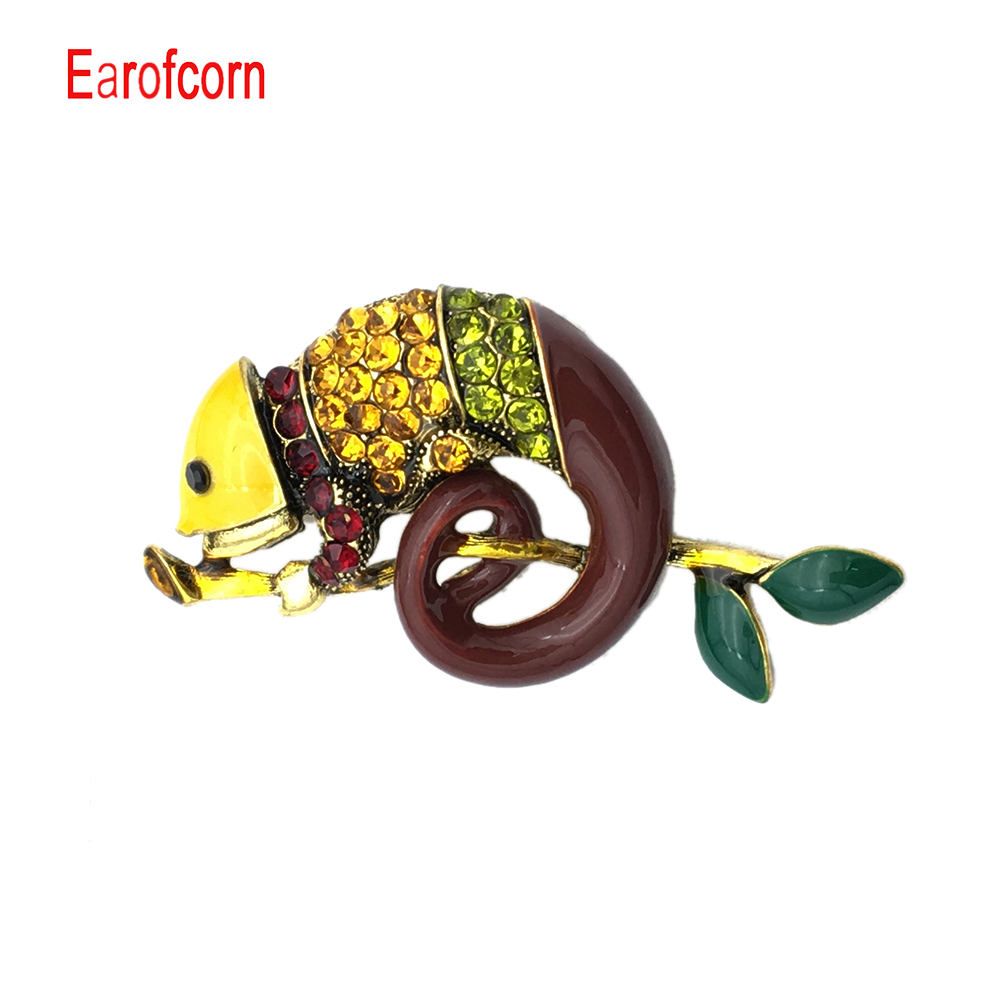 Earofcorn Colorful Enamel Lizard Brooches for Women Rhinestone Vintage Animal Jewelry Creative Coat Suit Accessories Brooch in Brooches from Jewelry Accessories