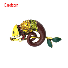 Earofcorn  Colorful Enamel Lizard Brooches for Women Rhinestone Vintage Animal Jewelry Creative Coat Suit Accessories Brooch a suit of vintage rhinestone wedding jewelry set for women