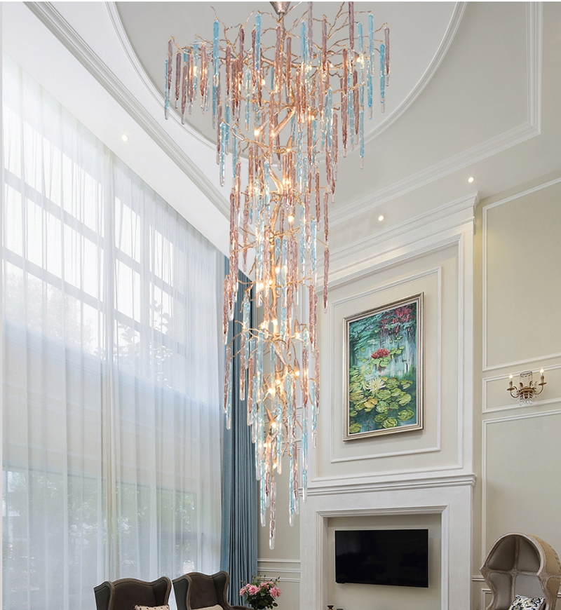 Phube Lighting Duplex Building Large Stair Crystal Chandelier LED Chandelier Light Colorful Glazed Chandelier Lustre Lighting christmas bell colorful light pattern stair stickers