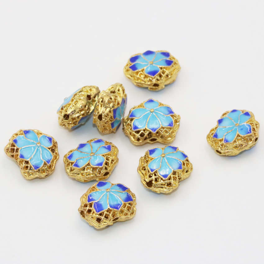 5pcs hot sale carved flower blue enamel cloisonne beads 14*17mm gold-color hollow spacers accessories diy findings B2514