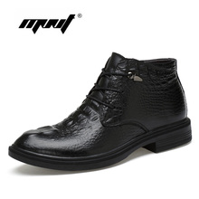 цена на Natural cow leather Men Winter Boots Plus Size Ankle Snow boots Handmade High Quality Super Warm Winter Shoes
