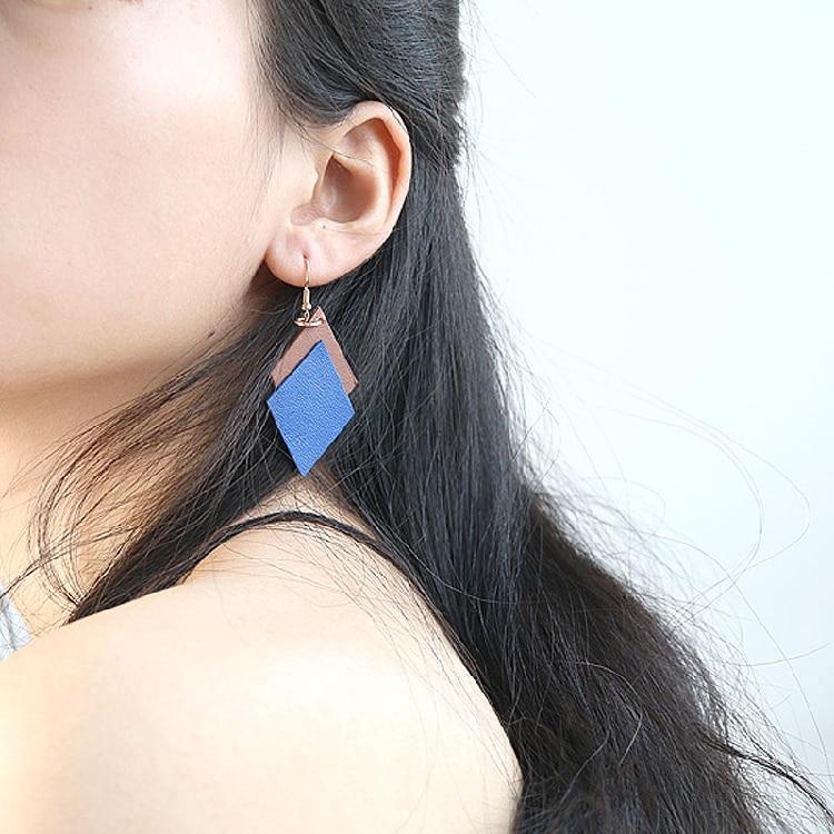 Véritable en cuir losange géométrie forme parti boucles d'oreilles femmes 2017 nouveau