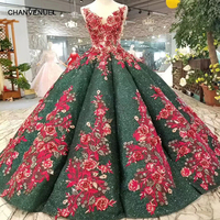 LS11217 green party dress red 3D flower v neck floor length evening dress long china factory wholesale ball gown prom dress 2019
