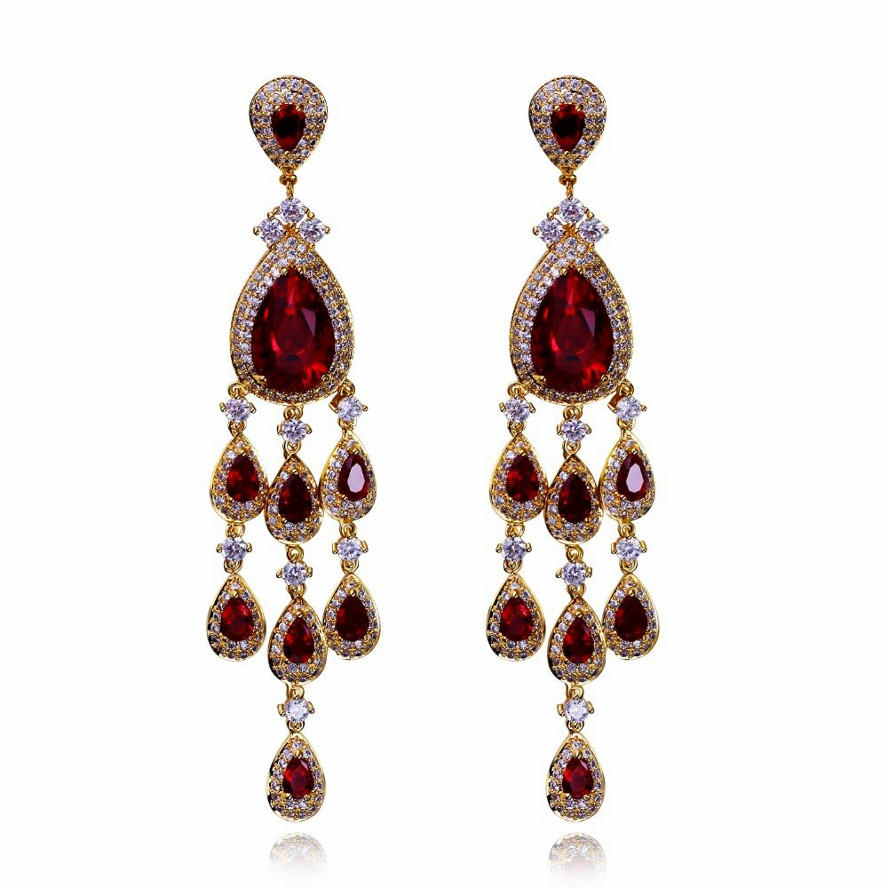 Limited edition Tassel earrings Latest design Red Champagne White Colorful Bright Zircon Luxury Jewelry brincos para as mulheres пластырь gehwol zehenringe oval овальные кольца защитные 9 шт