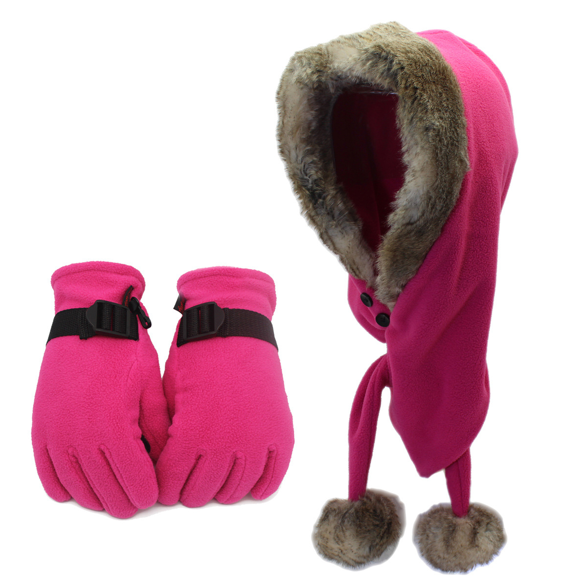 Russian Bombers Hat For Men And Women Scarf And Hat And Glove Suit In Autumn And Winter