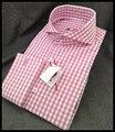 Бесплатная доставка На Заказ Европейский размер С Длинным рукавом Французский манжеты Розовый плед Деловых Рубашки для Mens QR-1440