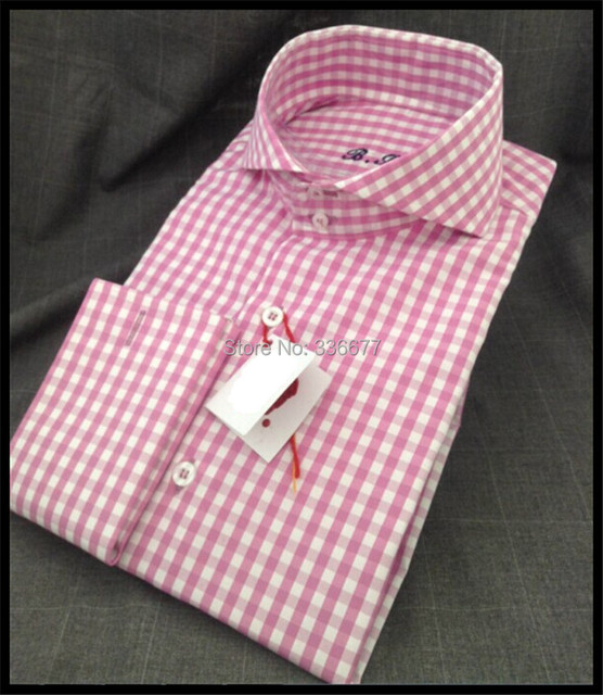 Free shipping Custom European size Long sleeve French cuff Pink plaid Formal Business Shirts for Mens QR-1440