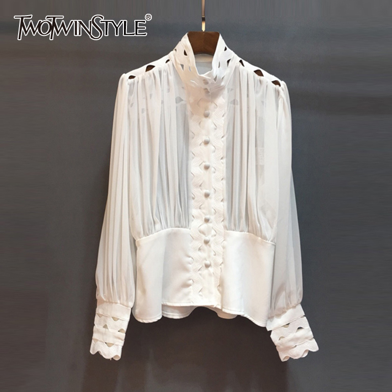 TWOTWINSTYLE Casual Hollow Out Shirt Female Stand Collar Lantern Sleeve Tunic Ruched Fashion Woman Blouses 2019 Summer New