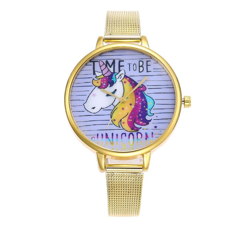 Cartoon Unicorn Women's Watches Simple Ladies Watch Dress Clock Pattern Mesh Alloy Strap Casual Relojes Mujer Quartz Wristwatch joyrox minions pattern children watch 2017 hot despicable me cartoon leather strap quartz wristwatch boys girls kids clock