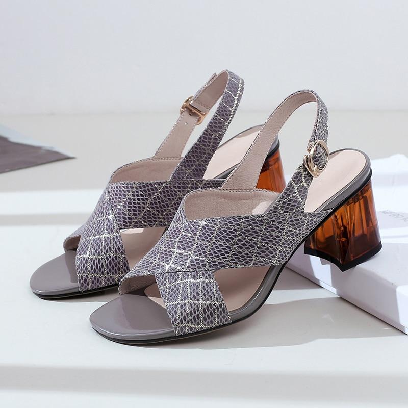 Grande taille 34-42 femmes en cuir véritable croix sangle med talon sandales bout ouvert summe dames confortable robe pompes chaussures femmes