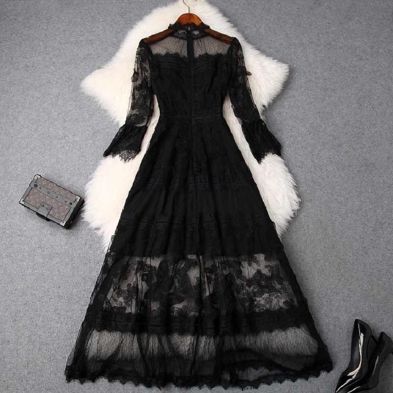 Дамское кружевное платье xl роскошное 2019 Новое высококачественное весеннее летний сексуальный клуб Сетчатое длинное платье ТРАПЕЦИЕВИДНОЕ женское сексуальное вечернее платье черного цвета
