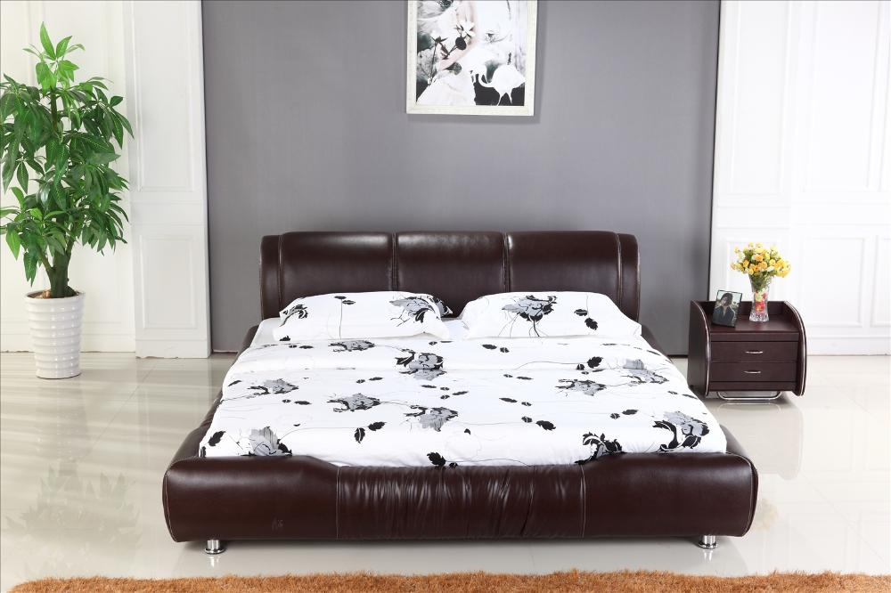 King size 1.8M bed Luxury Brown Color Top Grain Leather ...