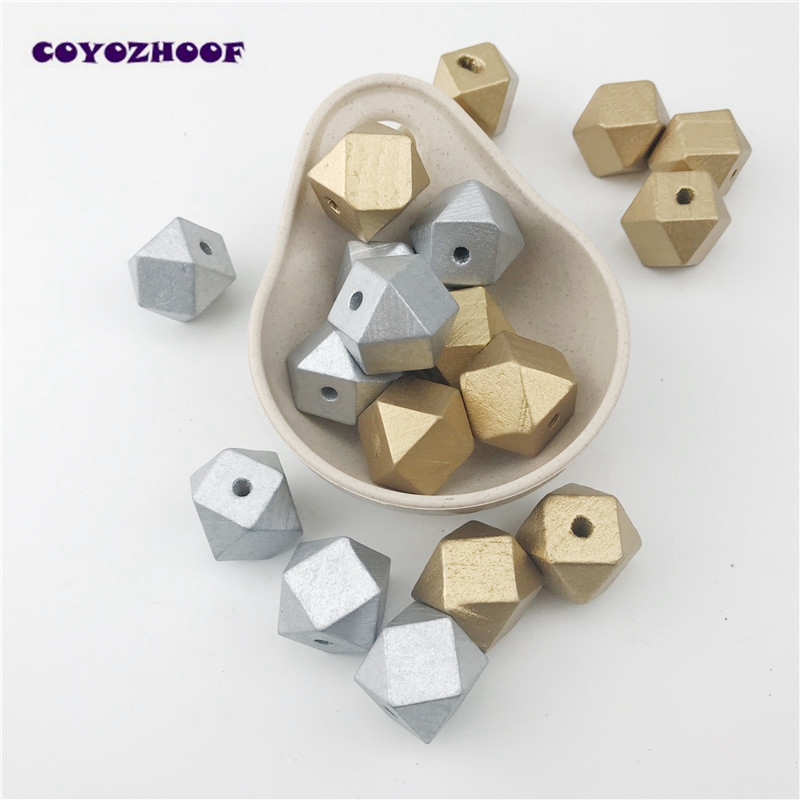 Jewelry & Accessories Beads & Jewelry Making 10pcs 20mm Gold And Silver Wooden Cube Unfinished Geometric Beads For Jewelry Making Necklace Diy Teething Jewelry Bead